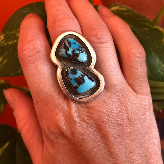 Vintage Turquoise Ring- Double Stone Ring- Native American