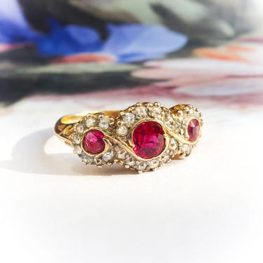 Antique Ruby Diamond Ring Vintage Edwardian 1920's 1.10ct t.w. Three Stone Anniversary Engagement Birthstone Cocktail Ring 18k Yellow Gold by YourJewelryFinder
