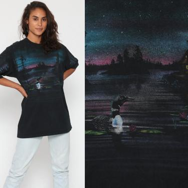 Duck Shirt 90s LOON T Shirt Vintage Retro T Shirt Graphic Tee 80s Moon Bird Wilderness Screen Print 80s Animal Shirt Medium Large by ShopExile