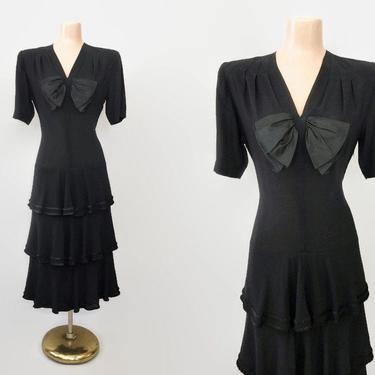 VINTAGE 40s Rayon Crepe Drop Waist Dress with Tiered Ruffle Hemline | 1940s Little Black Cocktail Dress | 30s Deco Noir | NY Dress Institute by IntrigueU4Ever
