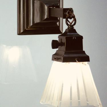 Single Arts and Crafts Wall Sconce with Striped Shade  #2058 by vintagefilament
