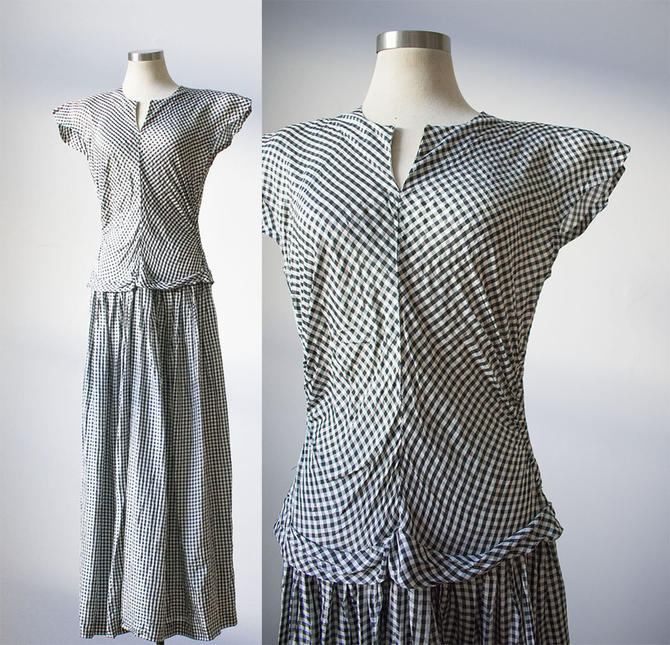 Vintage 1940s Gingham Dress / Black and White Gingham Dress / 1940s Drop Waist Dress / Evening Dress / 1940s Long Dress by milkandice