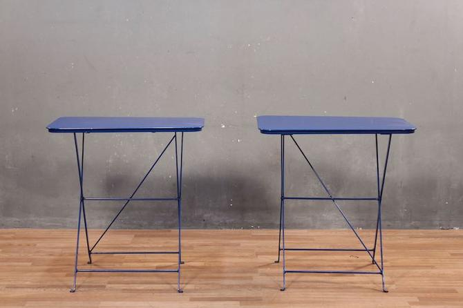 Industrial Blue Folding Cafe Table – ONLINE ONLY