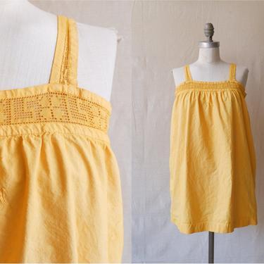Antique Edwardian Marigold Cotton Nightgown/ 1910s 20s Yellow Mini Dress with Monogram Yoke/ Size Medium by bottleofbread