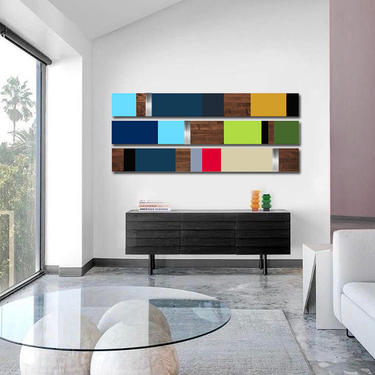 "CUSTOM ORDER - Allison - Colorblock 48x48"" by LauraAshleyWoodArt"