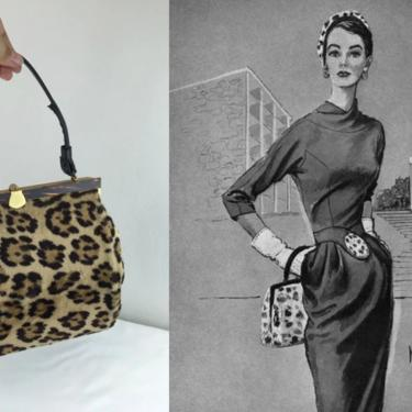 A Total City Sort of Gal - Vintage 1950s 1960s Faux Leopard Fur & Tortoise Purse Handbag by RoadsLessTravelled2