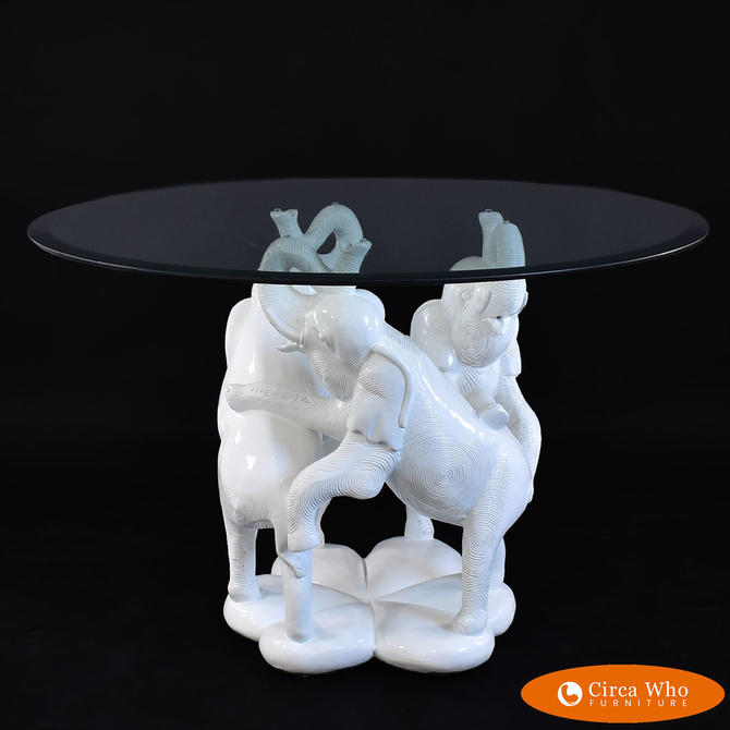 Hollywood Regency Elephants Dining Table