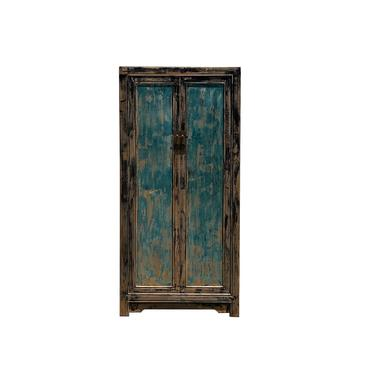 Oriental Distressed Black Teal Blue Lacquer Slim Storage Cabinet cs6116E by GoldenLotusAntiques