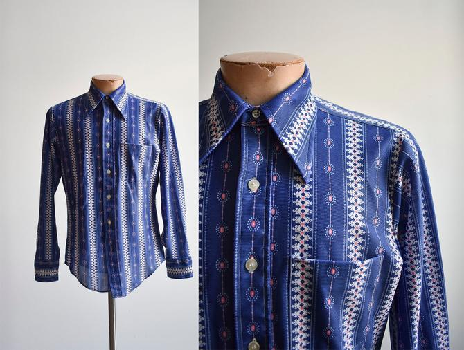 1970s Blue Floral Polyester Shirt by milkandice