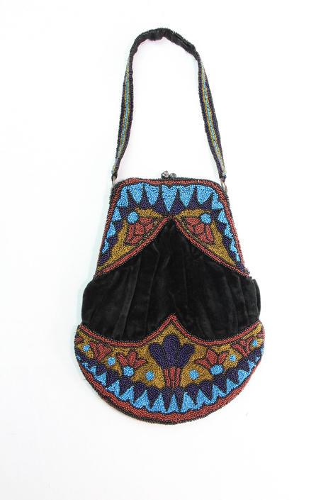 Antique Purse Victorian Black Velvet Micro Beaded Handbag by WalkinVintage