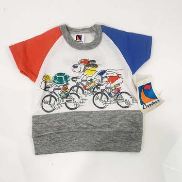 Vintage T-Shirt Carter's 1980s USA Short Sleeve Blue Ringer Tee Kids Baby Toddler Childrens Shirt Animals Bikes 12 months NOS Matthew Matt by CheckEngineVintage