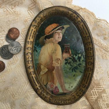 Antique Coke Tip Tray, Coca- Cola Small Tin Tray, Summer Scene, Girl with Hat, Roses, Passaic New Jersey, Passaic Metal Ware by luckduck