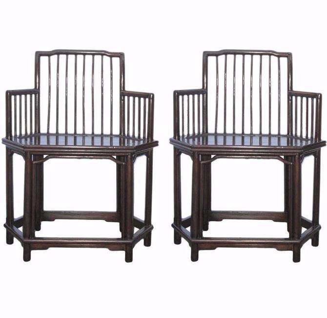 Pair Chinese Oriental HuaLi Rosewood Hexagon Armchairs cs613S