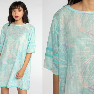 Blue Mini Dress Abstract Tropical Print 70s 80s Aqua Mini Dress Semi-Sheer Short Sleeve Dress 1970s Retro Dress Vintage Shift Extra Large xl by ShopExile
