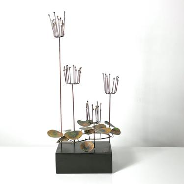 Rare Curtis Jere Brass Lily Pad Wire Sculpture 1960s by 20cModern
