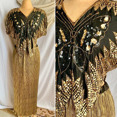 Gold Sparkly 2-Pc Butterfly Sequin Beaded Top, Gold Metallic Maxi Skirt, Disco Queen, Vintage 70s 80s by GabAboutVintage