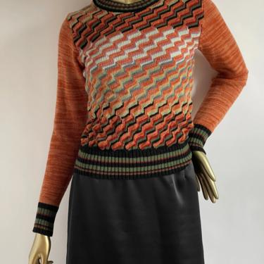 1970's Geometic Print Sweater fits XS - M Fall colors by BeggarsBanquet