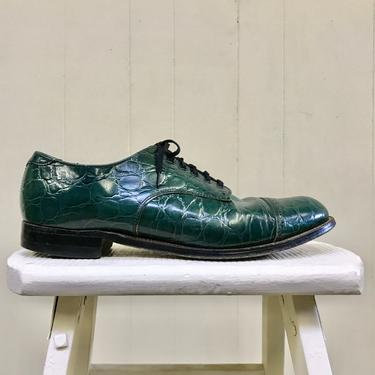 Vintage Stacy Adams Shoes, Madison Green Cap Toe Stamped Leather Oxfords, Emerald Faux Crocodile Lace Ups, Men's Size 9D US by RanchQueenVintage