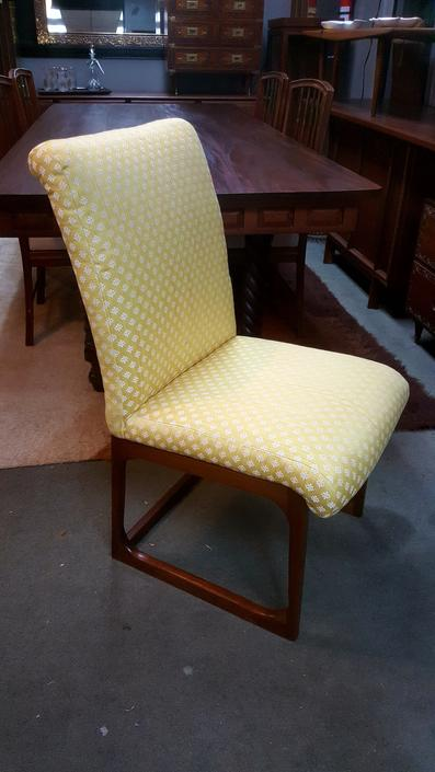 Danish Modern side chair with yellow and white upholstery and walnut base