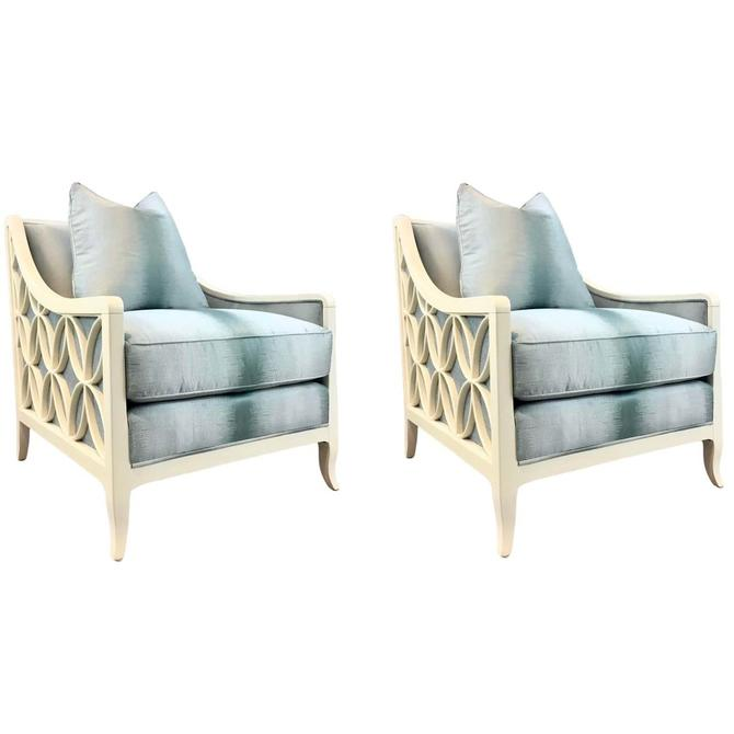 Caracole Couture Modern Blue and Off-White Social Butterfly Club Chairs Pair