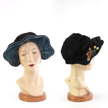1920s Velvet Scalloped Brim Bonnet - 1920 Velvet Cloche Bonnet - 1920s Wide Brim Cloche - 1920s Cloche - 1920s Womens Hat - 20s Cloche by VeraciousVintageCo