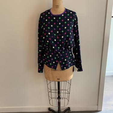 Louis Feraud navy polka dot silk blouse w/peplum-Size M/L by MartinMercantile