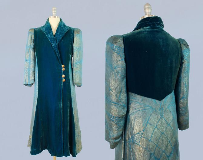 Rare 1930s Lamé Coat / 20s - 30s Teal Metallic Lamé and Silk Velvet Coat / Puffed Sleeves by GuermantesVintage
