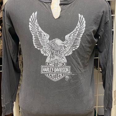 Vtg Harley Davidson Women's Gray Long Sleeved Graphic Tee 1987 Size Large Made in USA