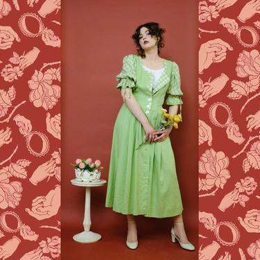 vintage Perry Landhaus light green linen button up dress by FlowerInTheMirror