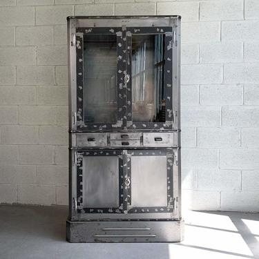 Art Deco Industrial Brushed Steel Apothecary Display Cabinet
