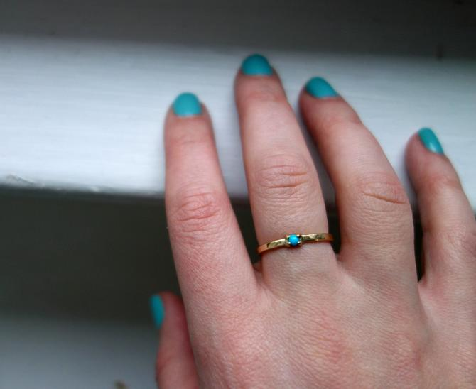 Tiny Turquoise Ring in 14k Gold Hammered Gold Sleeping Beauty Single Stone Band by RachelPfefferDesigns