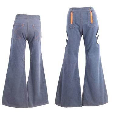 70s ELY high waisted double zip bell bottoms jeans 28 / vintage 1970s blue brushed cotton flares pants by ritualvintage