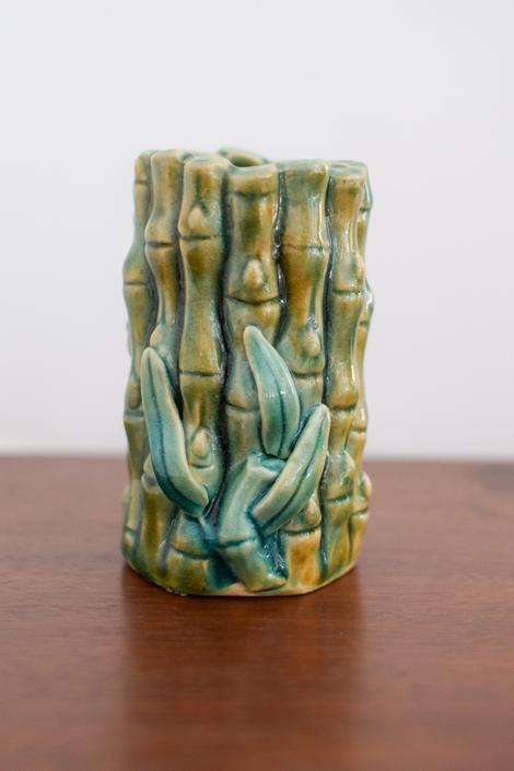 Vintage Green Bamboo Vase by CapitolVintageCharm