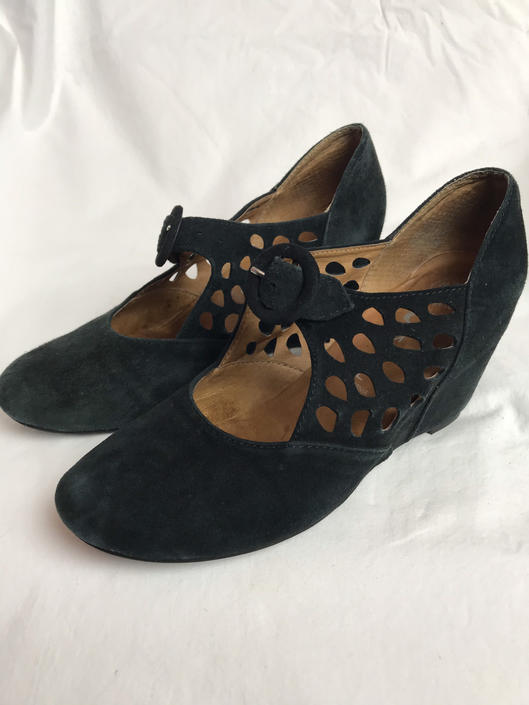 1920's Inspired wedge shoes~ Jeffrey Campbell size 8 black suede Mary Janes~ buckle~ eyelet cutouts~ flapper style~ size 8 by HattiesVintagePDX