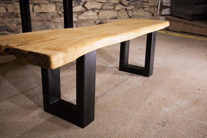 The Mill - Live Edge Slab Bench With Industrial Base by BarnWoodFurniture