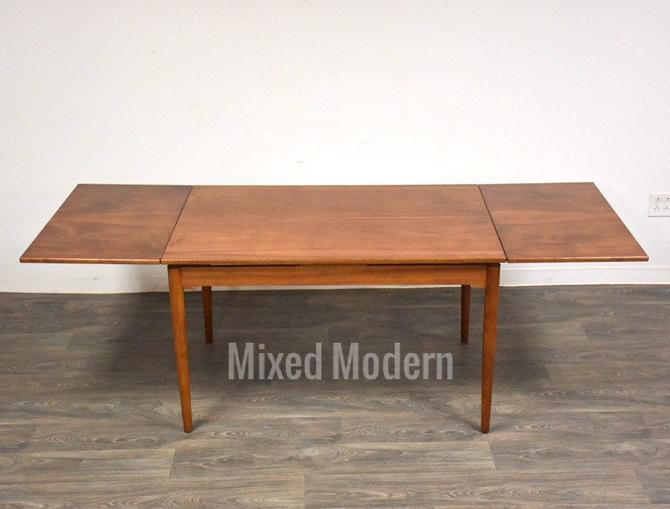 French Walnut Draw Leaf Dining Table by mixedmodern1