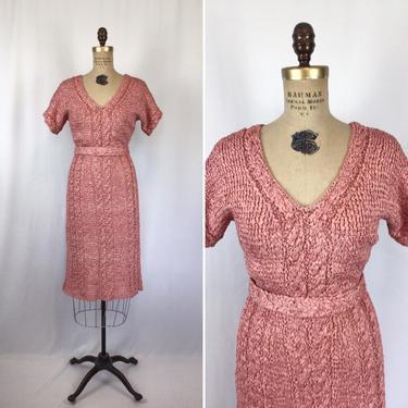 Vintage 40s dress   Vintage dusty rose pink ribbon knit dress   1940s knit sweater dress by BeeandMason