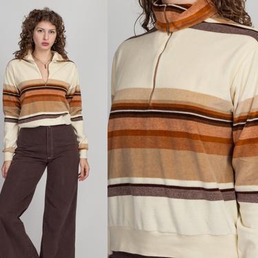 70s Velour Striped Quarter Zip Sweatshirt - Men's Medium   Vintage Beige Brown Sportswear Track Jacket by FlyingAppleVintage