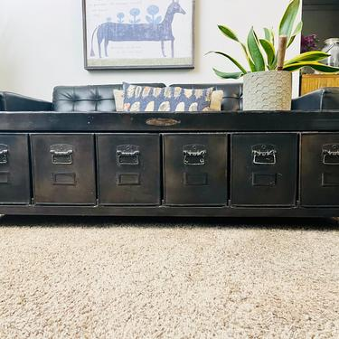 Long Black Metal Locker Cabinet | Metal Bench with Storage | Industrial Coffee Table | Metal Drawers | Office Storage | End of Bed Bench by PiccadillyPrairie