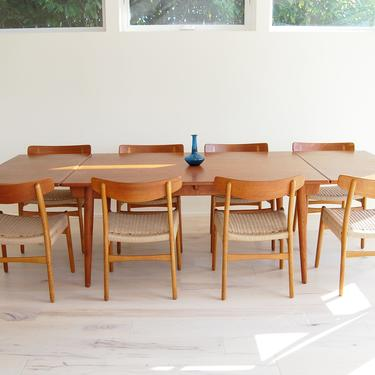 Danish Modern Hans J Wegner Teak Dining Table AT-312 and 8 Teak and Oak Dining Chairs CH-23 Set by MidCentury55