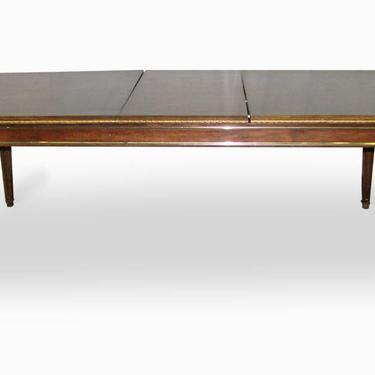 Mid Century 7 ft Brass Burled Veneer Table