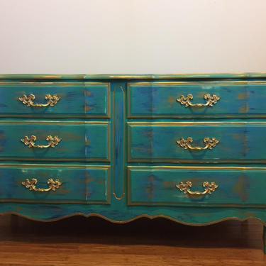 SOLD- 1960's French Provincial  Turquoise Dresser/buffet sideboard by FrenchTwistAntiques
