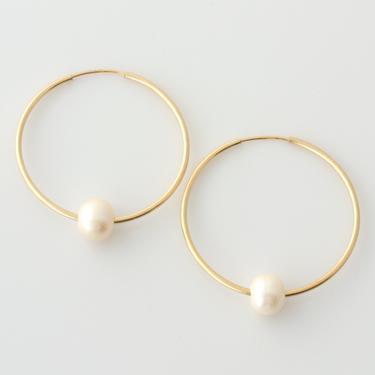 Pearl Hoop Earrings, 14k Gold Filled Pearl Earrings, Sterling Silver Pearl Hoop Earrings, Real Pearl Earrings, Gold Hoops, Silver Hoops by LEILAjewelryshop