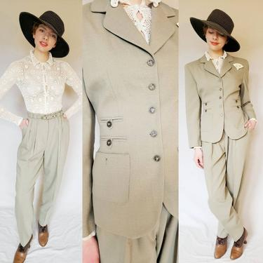 1990s Pant Suit in Green Gray / 90s Structured Blazer and Matching High Wasited Pants Set Francess Erita / Medium by RareJuleVintage