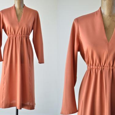 70s Vintage Terra Cotta V-neck Midi Dress, Rust Coral Long Sleeve Dress, Copper Blush Dress, Large Midi Polyester Dress, Solid Cinched Waist by MOBIUSMOD