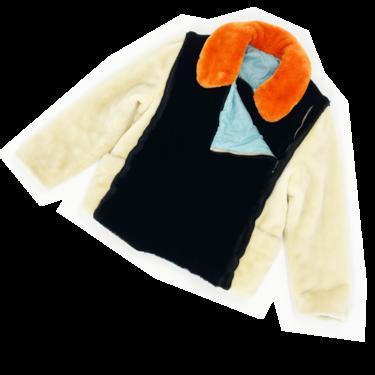 Jean Paul Gaultier F/W 1996 faux fur collar block jacket