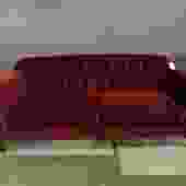 ARHAUS SOFA IN WINE RED PERFORMANCE FABRIC WITH NAILHEAD TRIM