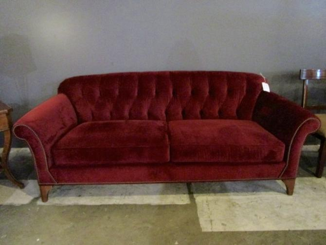 ARHAUS SOFA IN WINE RED PERFORMANCE FABRIC WITH NAILHEAD TRIM