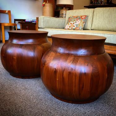 Walnut Drum Accent Tables
