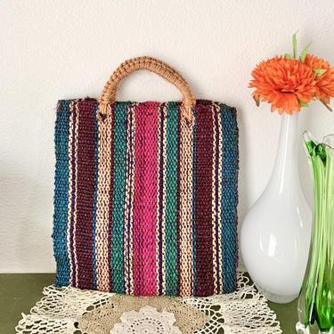 Colorful Sisal Jute Bag, Purse, Shopper, Handbag, Vintage Hippie Boho by GabAboutVintage